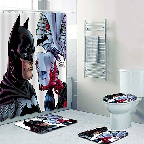 FRECASA 4 Pcs Batman Shower Curtain Sets with Rugs, Toilet Lid Cover, Contour Pad and Bath Mat Cartoon Batman and Harley Quinn Shower Curtain Polyester Waterproof