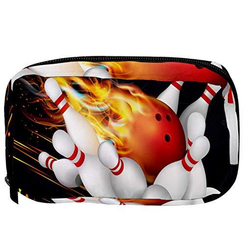 Kosmetiktasche für Frauen Roter Bowlingball in Flammen schwarz Geräumige Schminktaschen Reise Kulturbeutel Zubehör Veranstalter