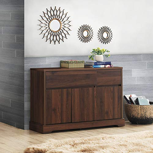 Giantex Buffet Sideboard, Storage Console Table with 2 Drawers and 2 Cabinets, Buffet Server Cupboard for Kitchen, Dining Room, Living Room, Entryway, Walnut