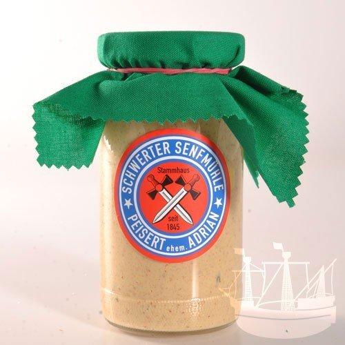 Kräuter Senf, im Glas, zu Dressing, Fleisch, Fisch & Geflügel, ' besonderer Geschmack', Schwerter Senfmühle, 185ml - Bremer Gewürzhandel
