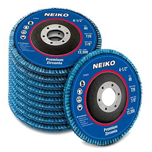 NEIKO 11142A Zirconia Flap Disc | 40 Grit | 10 Pack | 4.5' x 7/8-Inch | Bevel Type #29 | 13,300 RPM | Premium and Industrial Grade | High Performance Edge Grinding