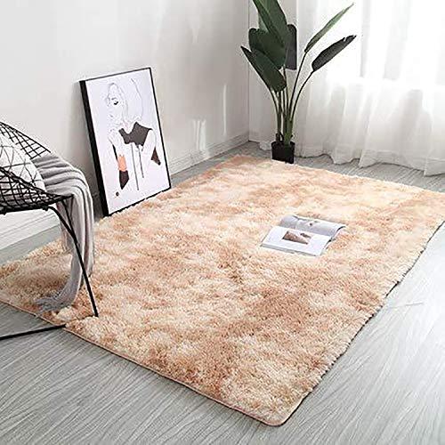 Inyear Alfombra de felpa, adecuada para salón, dormitorio, comedor, colchón de coche, sofá, muy suave (40 x 60 cm), color camello