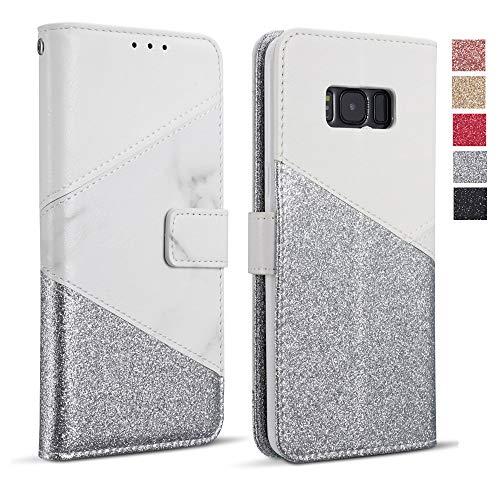 ZCDAYE Hülle für Samsung Galaxy S9 Plus, Glitter Schutzhülle [Magnetverschluss] PU Leder [Keramisches Muster][Kartensteckplätze] Flip Geldbörse Folio Tasche weichem TPU Handyhülle - Weiß
