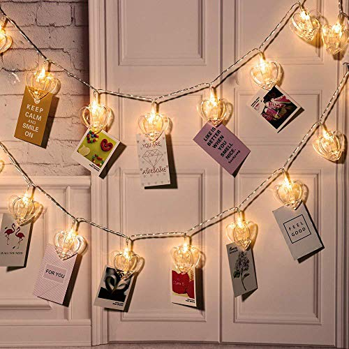 Gimartuk 20 LED Warm White Photo Clip String Lights Heart Battery Powered 20 Clips Hanging Photo Display Peg Fairy Xmas Light for Bedroom Wedding Party Indoor Outdoor Decoration (Heart)