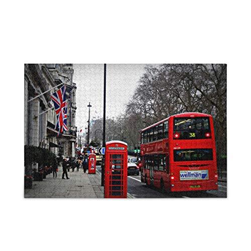 ISAOA Puzzle für Kinder und Erwachsene, 1000 Teile, The Streets Of London Puzzle mit Aufbewahrungstasche