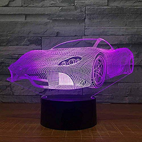 Kleurrijk Nachtlampje, Usb Opladen Creativiteit 3D Illusie-Effect Sportwagen Tafellamp, Kinder- / Babykamerdecoratie, Verjaardag/Vakantiegiften Voor Kinderen