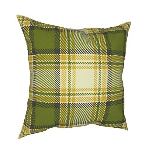 Uliykon Fundas de cojín decorativas personalizadas de color verde oliva y amarillo mostaza, fundas de almohada cuadradas suaves para sofá, dormitorio, coche con cremallera invisible 45,7 x 45,7 cm