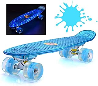 Mini Cruiser Skateboard, Vintage Youth, 22 Inches, Complete Kids Skateboard, Beginner Skateboard for Boys, Girls, Led Glitter Board Surface