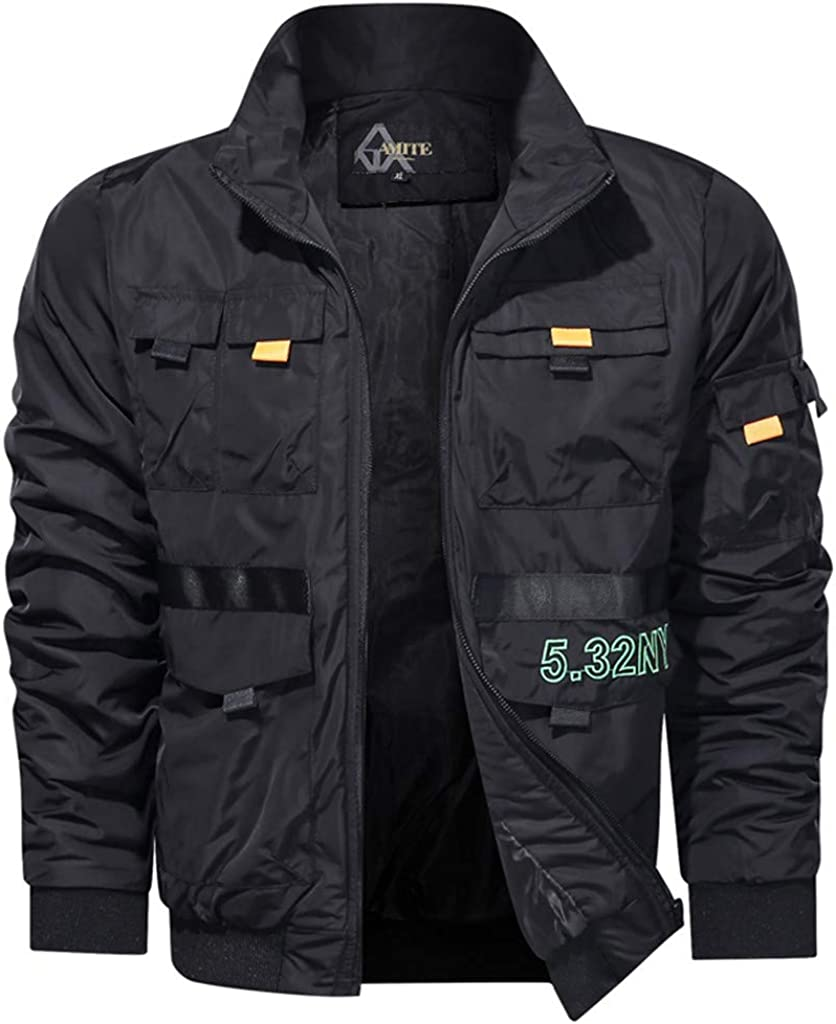 Men's Autumn Winter Stand Collar Jacket Coat Casual Pure Color Zipper Pockets Fleece Lined Thicken Breathable Outwear