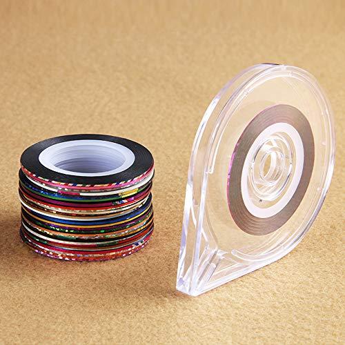30 Rollos de colores mezclados Nail-Striping Art Tape Line Sticker DIY Decal con 1 unid Cinta gratis Holder Case Tool