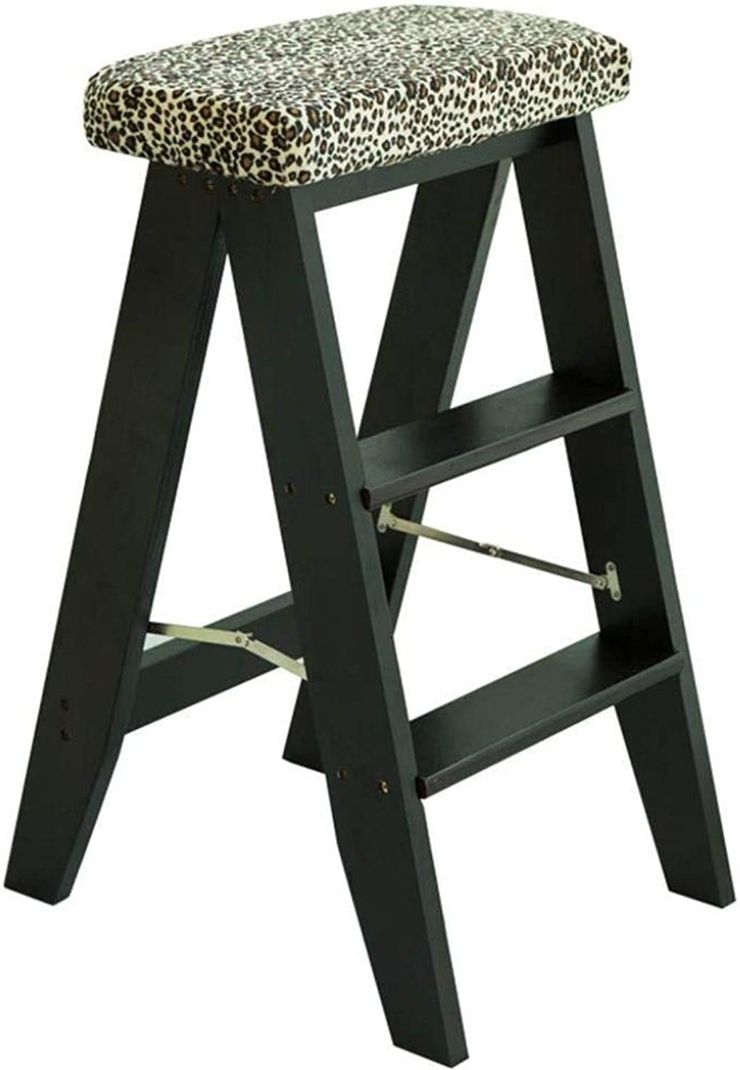 Imported Logs Multi-Function Household Folding Ladder Indoor Folding Stool Kitchen Stool Portable Stool Solid Wood Step Stool 34x32x60cm ZXMDMZ (color   Black)