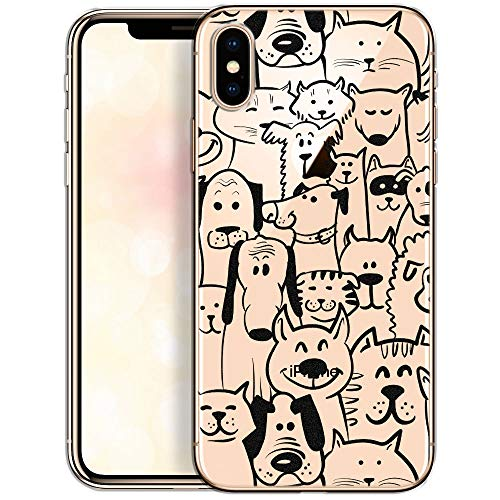 QULT Carcasa para Móvil Compatible con iPhone XS, Funda iPhone X Transparente Ultrafina Silicona Suave Bumper Teléfono Caso para iPhone X/XS con Dibujo Animales(DESECHABLE)