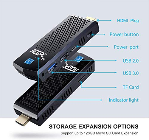 Lüfterloser PC Stick Windows 10 Professional, 4GB RAM/ 64GB eMMC Intel Cherry Trail Mini Stick Computer [ 4K HD/ 2.4G+5G Dual Band WLAN/BT 4.2/ USB 3.0/ HDMI/Auto Power On]