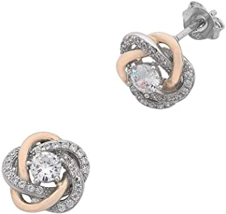 Bevilles Sterling Silver Cubic Zirconia Swirl Stud Earrings with Rose Accents