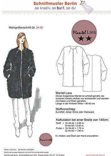 Schnittmuster Berlin: 850-0010 Kurzmantel Lara Damen Mantel farbiger Mehrgrößenschnitt 34-50