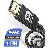 4K HDMI ケーブル 1.5m ハイスピード HDMI 2.0規格HDMI Cable 4K 60Hz 対応 3840p/2160p UHD 3D HDR 18Gbps 高速イーサネット ARC hdmi ケーブル - 対応 パソコンの画面をテレビに映す Apple TV,Fire TV Stick,PS4/PS3,Xbox, PC,Nintendo Switchなど適用 (黒)