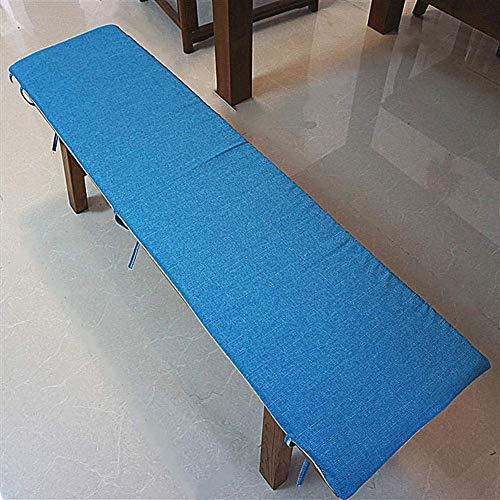 Cojín de banco de jardín, cojines al aire libre Cojín de silla larga de lino de algodón con cordones, espesado tapete de taburete extensible, sofá rectangular para banco de patio al aire libre interio
