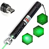 4. Long Range High Power Green Pointer,Rechargeable Pointer for USB,with Star Cap Adjustable Focus Suitable for Projector,Camping Hiking for Night