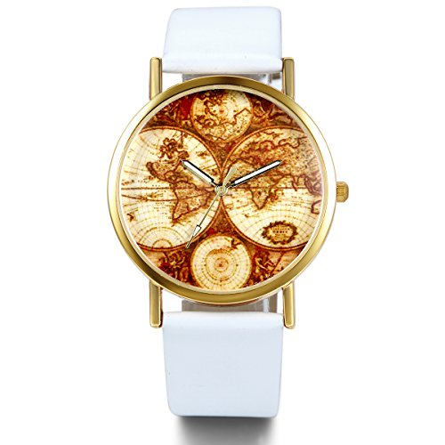 JewelryWe Damen Armbanduhr, Retro Casual Analog Quarz Leder Armband Uhr mit Gold Weltkarte Zifferblatt, Weiss Uhrenarmband