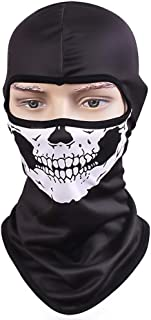 TClian Skull Mask Balaclava Ghost Skeleton Bandana Motorcycle Cycling Balaclava Full Face Masks UV Protective Quick Dry Breathable Military Tactical Airsoft Paintball Masks Halloween Mask