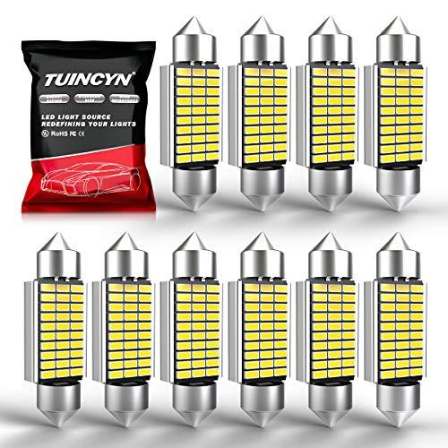 TUINCYN 39MM LED Ampoules Blanc 30 SMD 3014 Puce 6418 DE3425 DE3423 LED Plaque d'immatriculation intérieure Lumière Plaque de porte dôme avec courtoisie (paquet de 10)