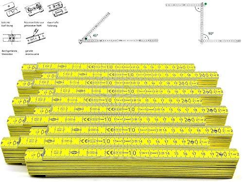 10 Stk. Adga 250 plus Meterstab gelb 2m Holz Winkelübersicht 90 180 Grad Rastung gerade Anreißkante