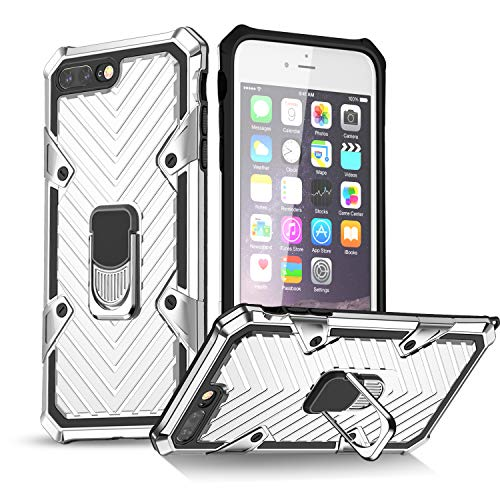 EYZUTAK Case for iPhone 7 Plus iPhone 8 Plus, Military Grade Protective Phone Case with Magnetic Car Mount 360 Degree Rotation Metal Finger Ring Holder Magnet Car Holder Shockproof Case - Silver