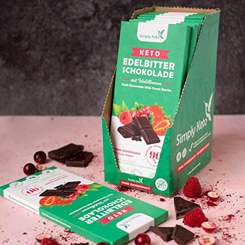 Simply Keto | Keto Edelbitter Schokolade mit Waldbeeren und 60 % Kakao | gesüßt mit Erythrit-Stevia Mix statt Zucker | Low Carb, Vegan, Glutenfrei & Keto | Nur 5 g Netto-Kohlenhydrate pro 100g