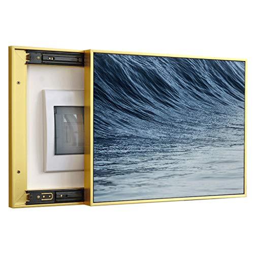 Yuandudu Dbxiang Stromzähler-Kasten-dekorative Malerei-Gegentakt-Art für Restaurant-Korridor-Hotel-Schlafzimmer, Blaue Meerwasser-Muster-goldene Grenzkristalloberfläche