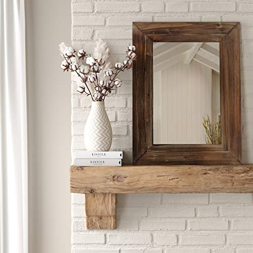 Barnyard Designs Decorative Torched Wood Frame Wall Mirror, Large Rustic Farmhouse Mirror Decor, Vertical or Horizontal Hanging, for Bathroom Vanity, Living Room or Bedroom, 32