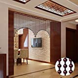 AZYQ Holzperlen Vorhang- 40,60,80 Stränge Naturholz Perlen Türperlen-Türvorhang Raumteiler für Wohnzimmer Schrank, hängend dekorativ, anpassbar,rot,220-360 cm / 80 '-142' (80 Stränge)