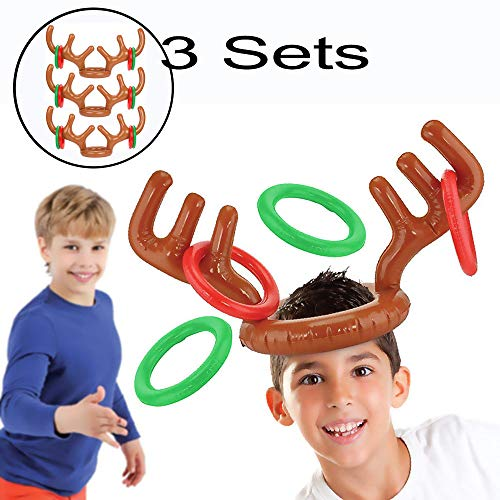 Starhig Inflatable Reindeer Antler Ring Toss Game for Xmas Party(3 Sets