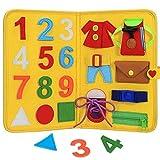 BETOORES Busy Board - Tabla de actividades básicas para niños pequeños, juguete sensorial plegable, educativo, aprender a vestir, juguete para viajes en avión o coche (amarillo)