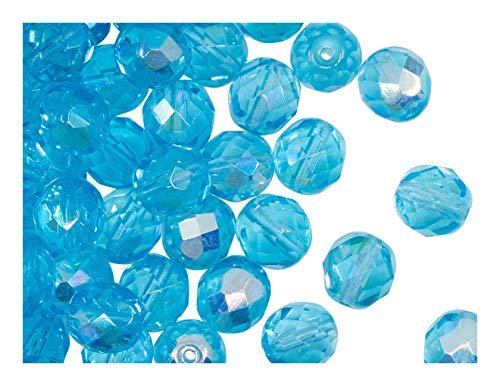 25 pcs Tchèque facettes perles de verre, Fire-Polished ronde 8 mm, B488 Aquamarine AB