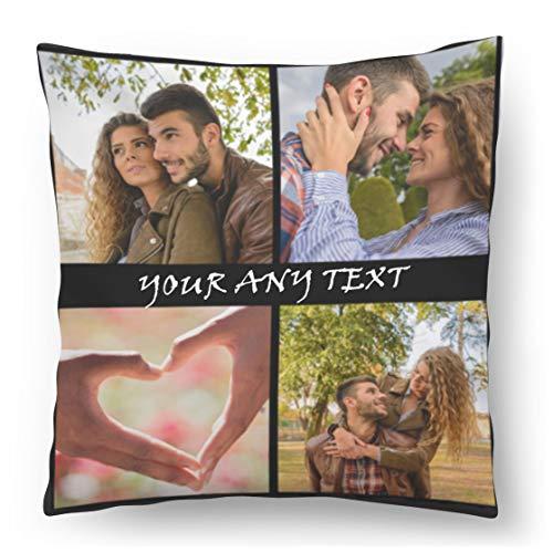 Cuscino Personalizzato con Foto 45x45 Regalo per San Valentino, Compleanno, Festa della Mamma Cornice Nera con 4 Foto e Testo Fullprint [081]