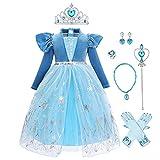 Costume Anna Frozen Regina delle Nevi Ragazze Bambina Abito Velluto Principessa Vestito Anna Elsa Festa Cosplay Carnevale Halloween Natale Compleanno Blu 3(con Accessori) 4-5 Anni