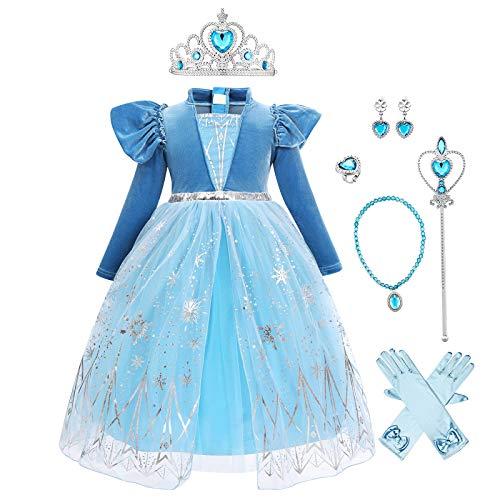 Costume Anna Frozen Regina delle Nevi Ragazze Bambina Abito Velluto Principessa Vestito Anna Elsa Festa Cosplay Carnevale Halloween Natale Compleanno Blu 3(con Accessori) 6-7 Anni