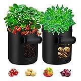 Deyard Sacchi per Coltivazione di Patate, fioriere per Patate Grandi da 7 galloni Sacchetti per orticoltura Fioriera in Tessuto Non Tessuto Contenitore per vasi (Confezione da 2)