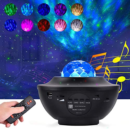 LED Star Projector Rotating Night Light,Bedside Child Lights,Ocean Wave Projector Night Light With Remote Control Timer And Built-in Music Speaker ,For Decoration, Kids Party,Baby Gift.
