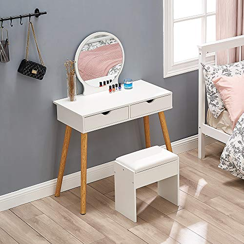 White Vanity Table Set with Round Mirror 2 Large Drawers Makeup Dressing Table