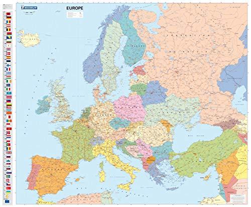 Mapa plastificado Europa Político: Wall Map: 1 (Mapas en tubo y plastificados Michelin) ✅