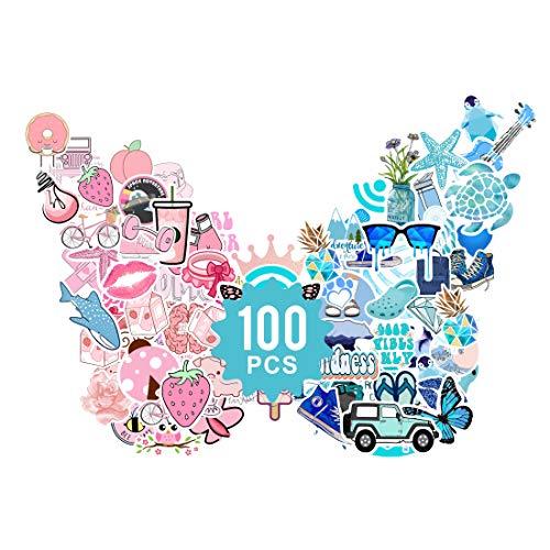 Baytion Adesivi Carini (100 Pezzi), Vsco Stickers Adesivo Alla Moda Estetica Portatile per Bambini Adolescenti, Adulti, Laptop, Auto, Moto, Biciclette, Skateboard, Valigia
