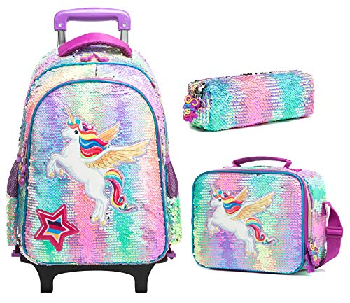 Kids Rolling Backpack for Girls Backpack with Wheels Backpack for Girls for School with Lunch Box Unicorn Reversible Sequin School Bags