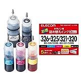 エレコム 詰め替え インク Canon キャノン BCI-320321BCI-325326対応 5色パック(5回分) THC-326321SET 【お探しNo:C108】 THC-326321SET