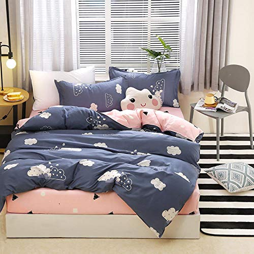 Miwaimao Brushed Cotton Denim Linen Aloe Person Dormitory Three-Piece Quilt Bedding,The Clouds,2.2m Bed