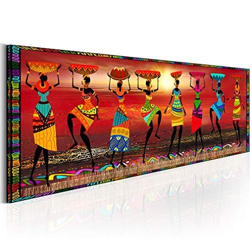 decomonkey Bilder Afrika Frau 150x50 cm 1 Teilig Leinwandbilder Bild auf Leinwand Wandbild Kunstdruck Wanddeko Wand Wohnzimmer Wanddekoration Deko oragne Mozaic Sonne