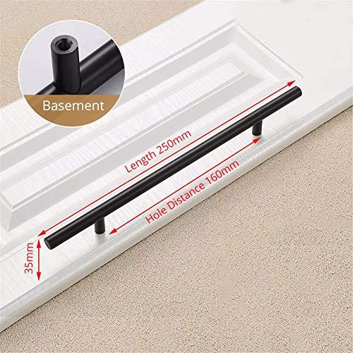 WanJiaMen'Shop Küchentürgriffe Bar Pull Griff gerade Schublade Knöpfe Schrankleiste Durchmesser 12MM Möbel Hardware, schwarz, 160mm