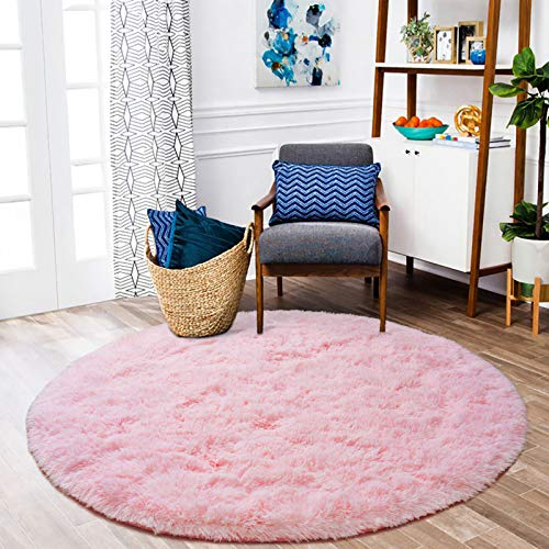 ISEAU Fluffy Round Rug Carpets, Modern Shaggy Circle Rug for Kids Bedroom Extra Comfy Cute Nursery Rug Small Circular Carpet for Boys Girls Room Home Decor Area Rug, 4ft Rugs, Pink
