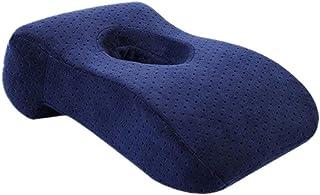Nsdsb Almohada para Dormir Rebote Lento Memoria Algodón Agujero Almohada para Dormir Almohada para la Mano Azul