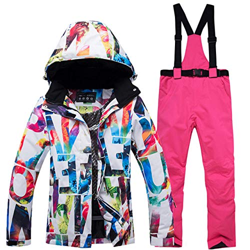 JSGJHXFNew Skipak voor dames, warm, waterdicht, winddicht, ski- en snowboardjas, broek voor dames, sneeuwkostuums